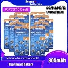 10 pacote (60 pces) 100% original renata a13 13a za13 13 pr48 1.45v avançado aparelho auditivo baterias cic orelha cuidados botão pilha