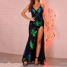 Dressv Prom Dresses 2020 Long Asymmetrical V-Neck Sleeveless Backless Sequins Lace-Up Split Floral Floor-Length Sexy Maxi Dress hdy haoduoyi west style simple v neck asymmetrical hem chiffon micro perspective sexy maxi party dress women dresses