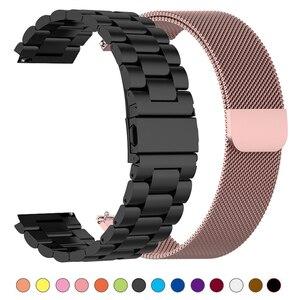 Металлический ремешок для часов Xiaomi Amazfit Bip S/Stratos 2 2s 3 /Pace/GTS GTR 47 мм 42 мм, стальной ремешок для часов Huawei Watch GT 2 2e