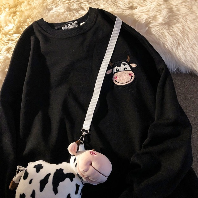 QWEEK Kawaii Cow Print Sweatshirt Women Japanese Harajuku Cute Milk Embroidery Long Sleeve Hoodie Sweatshirt 2021 Fashion Korean 6
