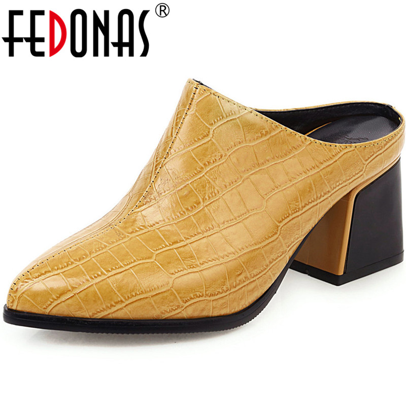 FEDONAS Solid Color Women Shoes Top Quality Wedding High Heeled Pumps Spring Summer Show Off Mules Sexy Round Toe Shoes Woman