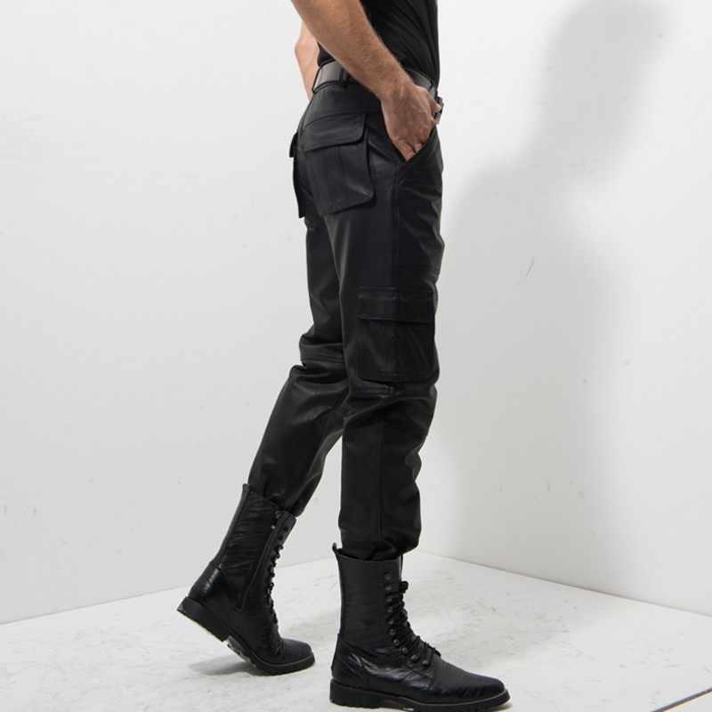 2020 Nieuwe Zwarte Lederen Broek Mannen Mode Toevallige Plus Size Motorfiets Broek Mannen Lederen Joggers Pantalon Homme M-XXXXL