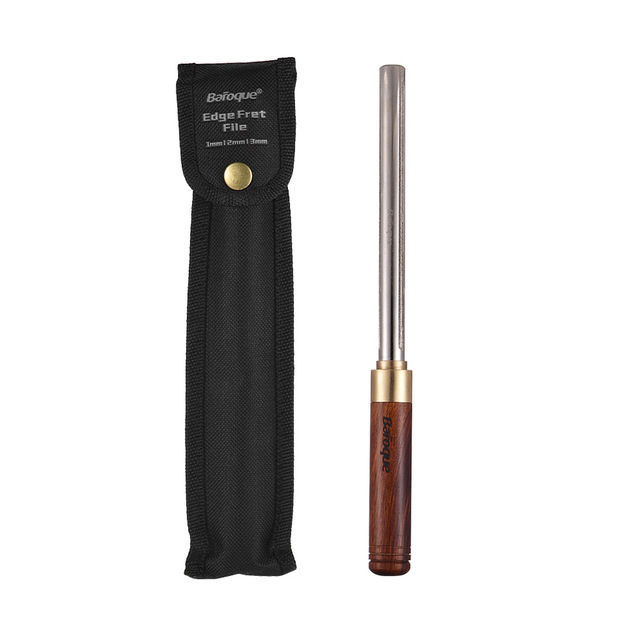 Guitar Fret File Guitar Fret Dressing Metal File with 3 Size Edges Wooden Handle Guitar Repair Tool Luthier Tool