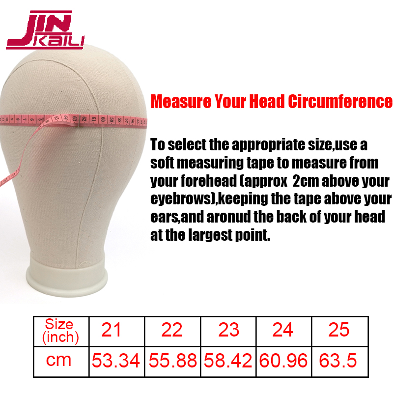 JINKAILI Training Mannequin Head Canvas Block Head Display Styling Mannequin Manikin Head Wig Stand Free Get T Needle Holder
