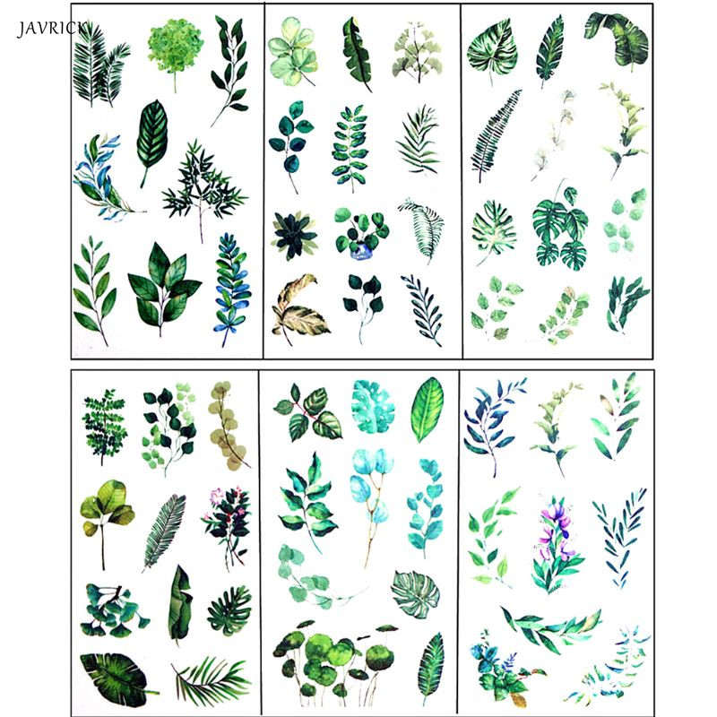 JAVRICK 6Pcs Leaves Resin Sticker Epoxy Resin Mold Frame Fillers Material Jewelry Making