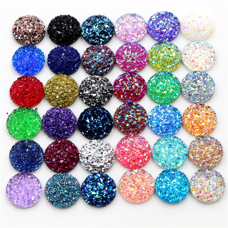 Mixed Colour Dome 40 x Acrylic Flatback Cabochons Round 14mm