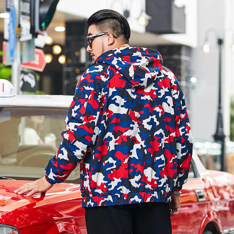 Talla grande ropa otoño chaqueta hombres moda rompevientos Hombre con capucha colorido camuflaje abrigo 8XL 6XL 7XL chaqueta para hombre talla grande