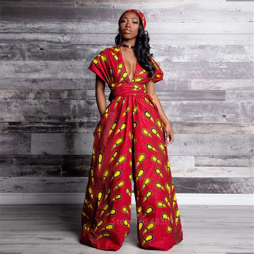 2020 News African Clothes Ladies Jumpsuit Feather Wide Leg Pants Fashion Trousers African Dresses For Women Robe Bandage Wear