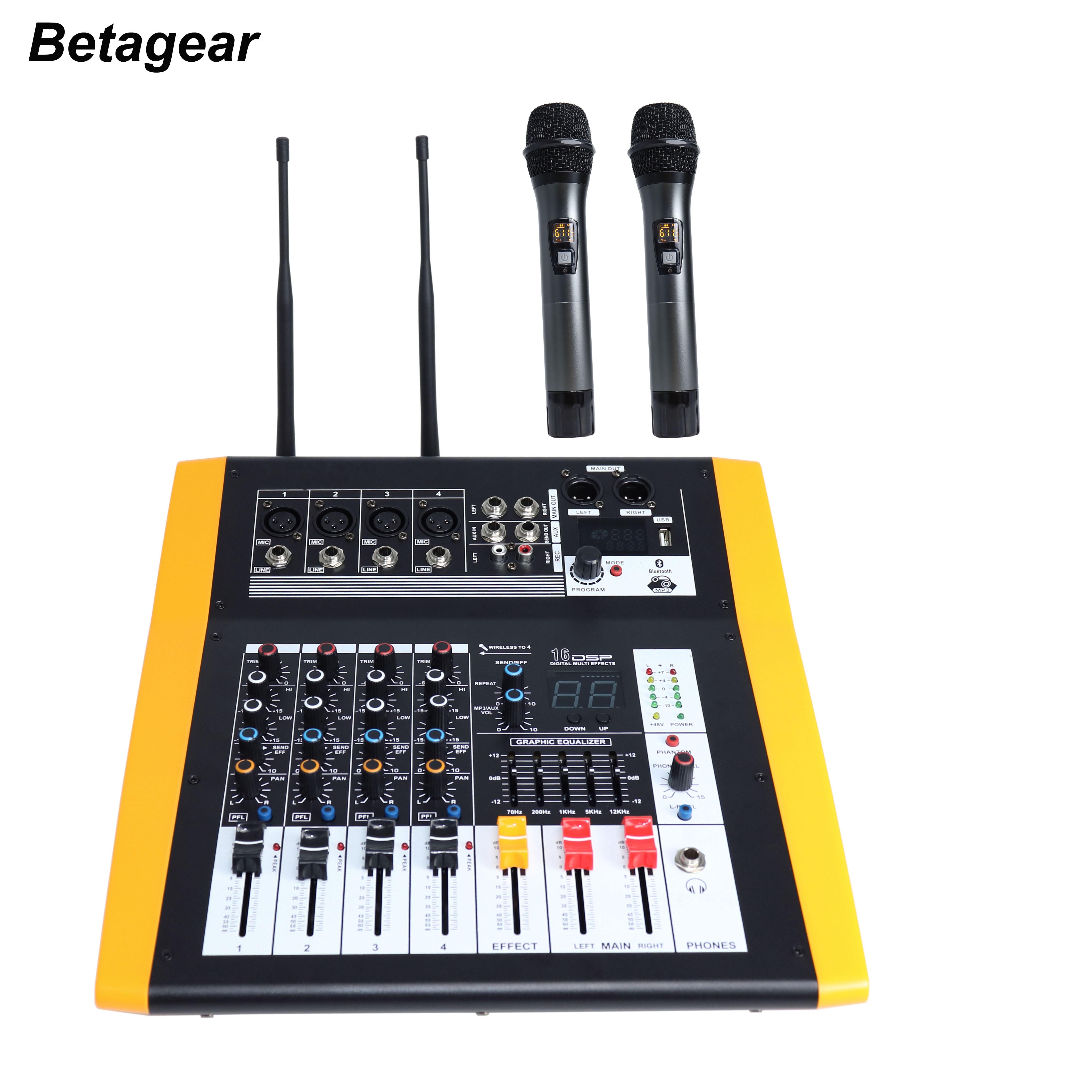 Betagear LE-40 power mixer mit uhf 4 kanal professionelle mischer dsp digital mixer 2 wireless mic