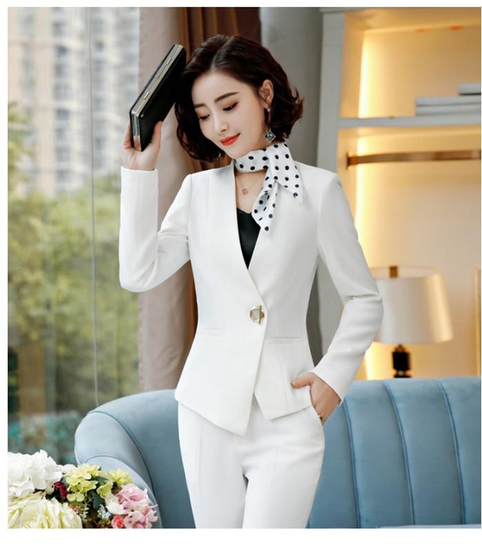 Elegant Pant Suits Women Business Work Office Lady Formal Pants Jacket Set Fashion Suit Female 2019 Autumn Winter Plus Size 4XL 34