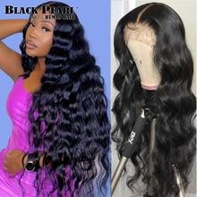 Черный жемчужный объемный волнистый парик с кружевной передней частью 360, парик с кружевной отделкой, бразильский 4x4, кружевные накладки, пр...