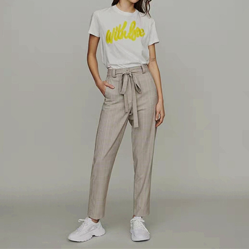 Early Autumn Plaid Straight Women Trousers With Belt High Waist Casual Long Pants With Pockets
