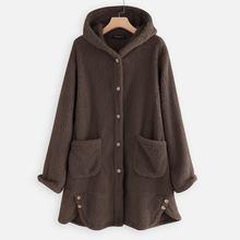 2019 Winter Women's Fluffy Coats Stylish Windbreakers Parka Female Button Asymmetrical Outwears Hood