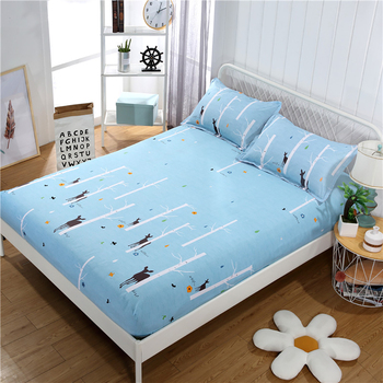 Bedding Singleton Antislip Polyester Fibre Fixed Bedspread Mattress Cover Dustproof Protect Solid And Durable Fitted Sheet image