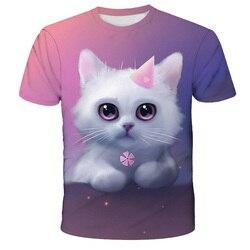 Verão menina dos desenhos animados café gato de secagem rápida poliéster impressão 3d camiseta favorito das crianças engraçado em torno do pescoço curto sleeve4T-14