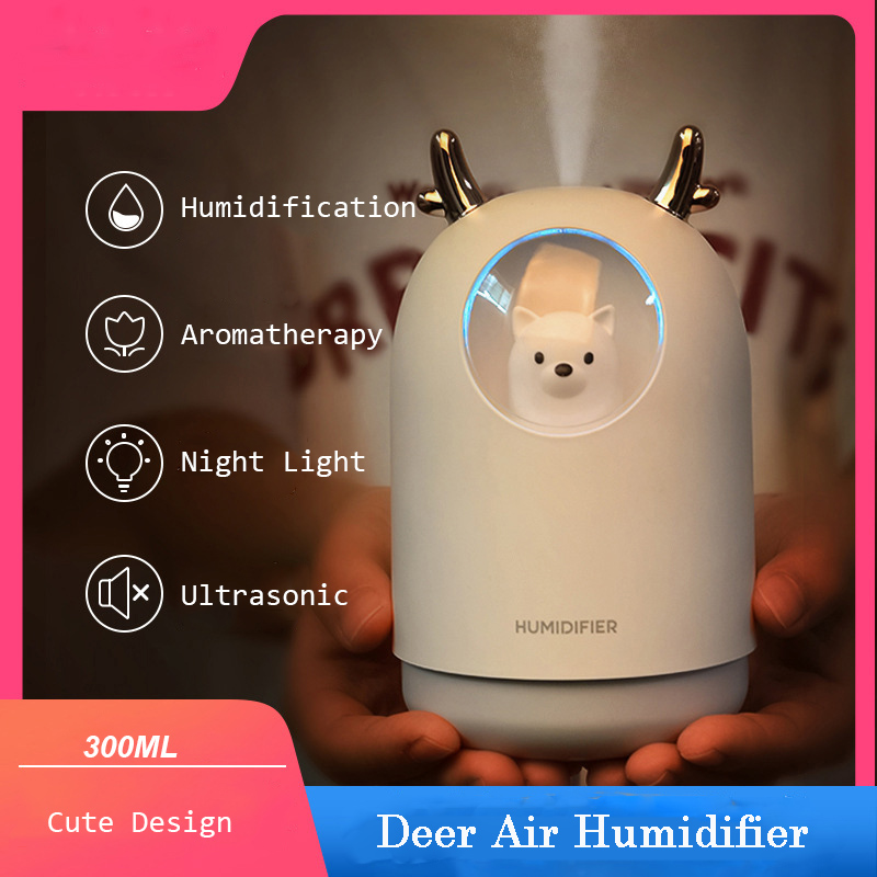 300ML Humidifier Cute Pet Mini Air Diffuser Ultrasonic Essential Oil Diffuser Car Air Freshener Aroma Mist Maker For Home Office
