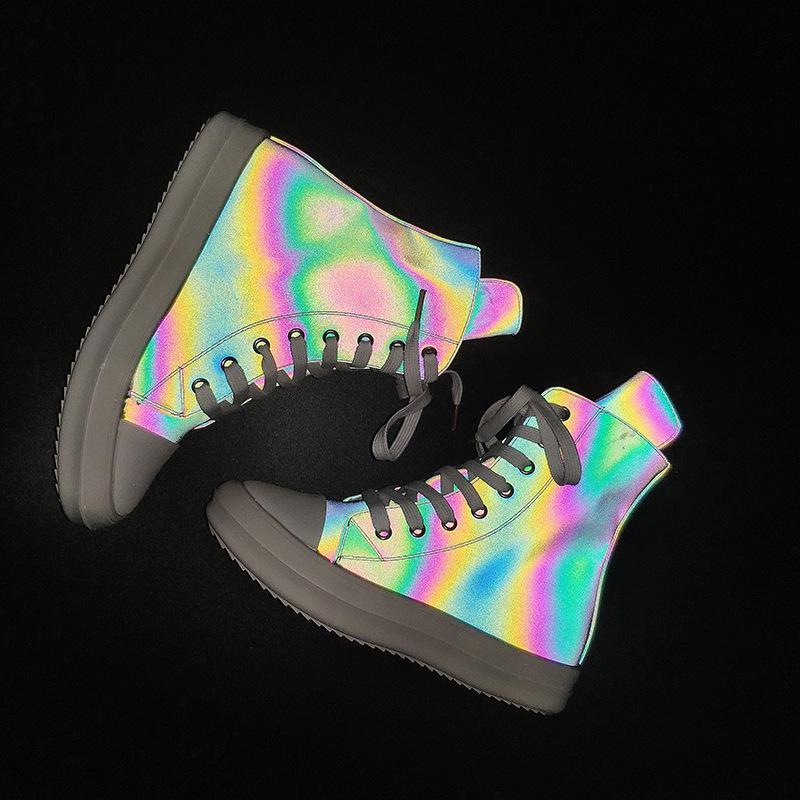 New Luminous Sneakers Women Men Chunky Sneakers Platform Shoes Ladies Reflective Shoes Woman High Top Casual Shoes Flats Glowing