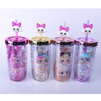 300-400ml LOL Surprise Doll Mug Sequin Solid Color Double Plastic Water Cup Cartoon Girl Pattern Kettle Cute Water Bottle