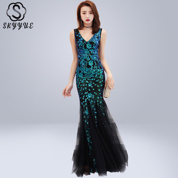 Skyyue Evening Dress Sleeveless Split Robe De Soiree Backless Zipper Women Party Dresses 2019 Beading V-neck Formal Gowns C275