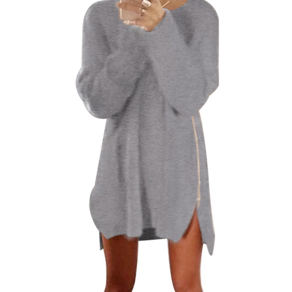 Chic Autumn Women Solid Color Long Sleeve Zipper Slit Side Loose Sweater Dress Plus Size 5XL Sweaters O-neck Warm Sweater Women