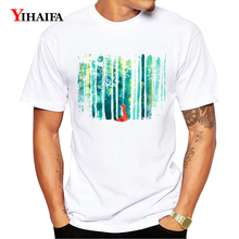 Men T-Shirt 3D Print Wolf Starry Forest Graphic Tees Casual Tee Shirts Short Sleeve Summer Unisex White Tops men forest print tee