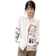 Новые женские рубашки с отложным воротником и принтом деловые