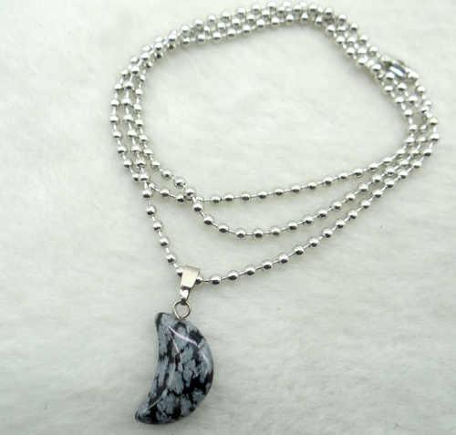 Pietra naturale di Cristallo Di Quarzo occhio di tigre Opal lapis Turchesi luna pendenti per Gioielli fai da te fare Collane Accessori A22