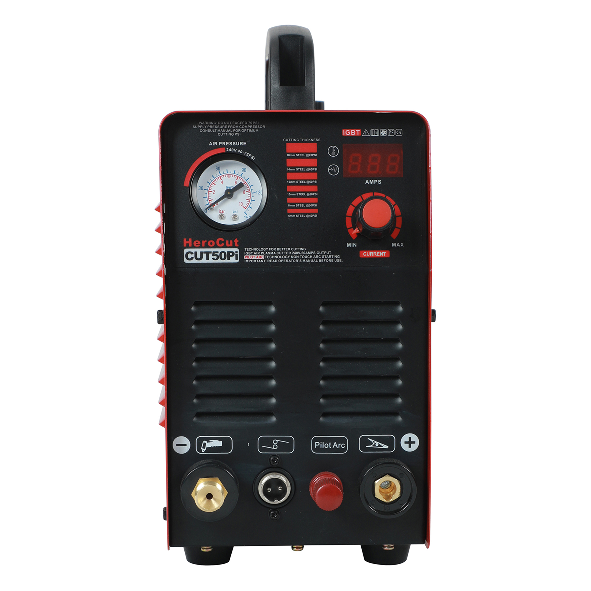 Tools : IGBT Pilot Arc HF DC Air Plasma cutting machine Herocut CUT50Pi 50Amps plasma Cutter Cutting Thickness14mm Clean Cut