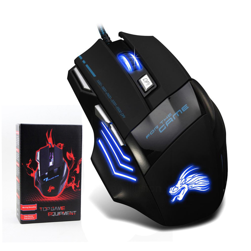 USB Wired Gaming Mouse 7 Buttons 5500 DPI Adjustable LED Backlit Optical Computer Mouse Gamer Mice For PC Laptop Notebook 1