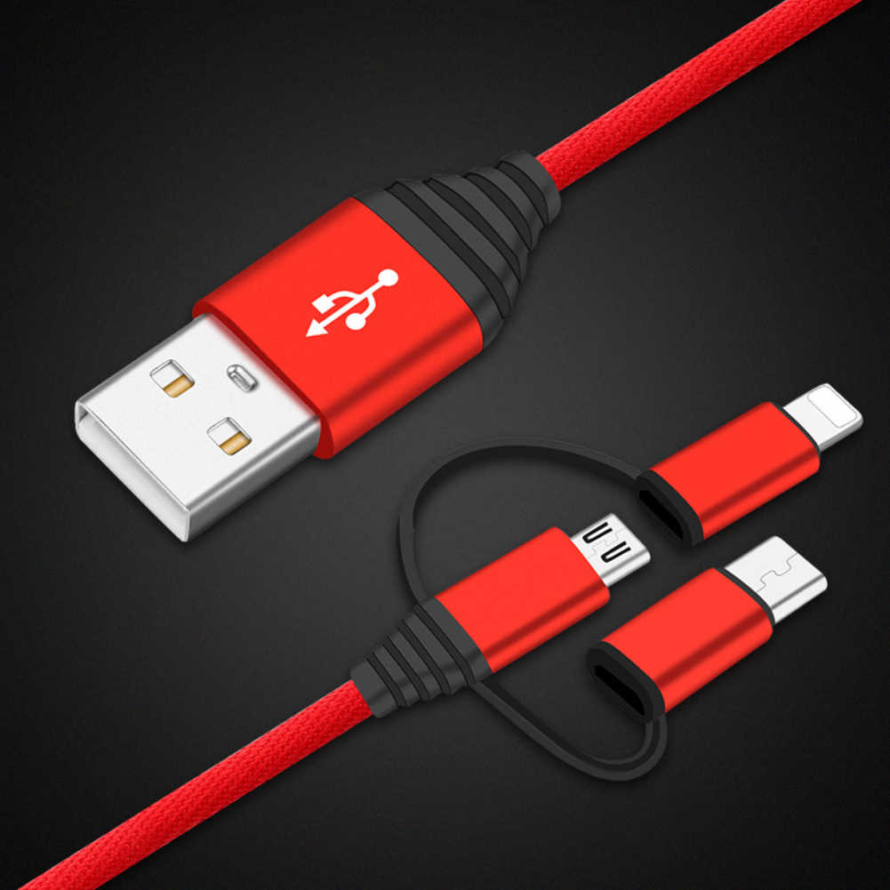 3 In 1 Micro USB Cable for Xiaomi Mi 9 Samsung S10 9 8 Huawei Android Charger Mobile Phone Type C Charger Cable Charging Cable