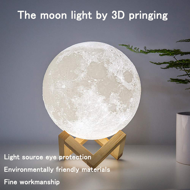 Dropshipping 3D Print Galaxy Moon Lamp Night Light USB Rechargeable Creative Home Decor Globe Bedroom Lover Children Gift 2