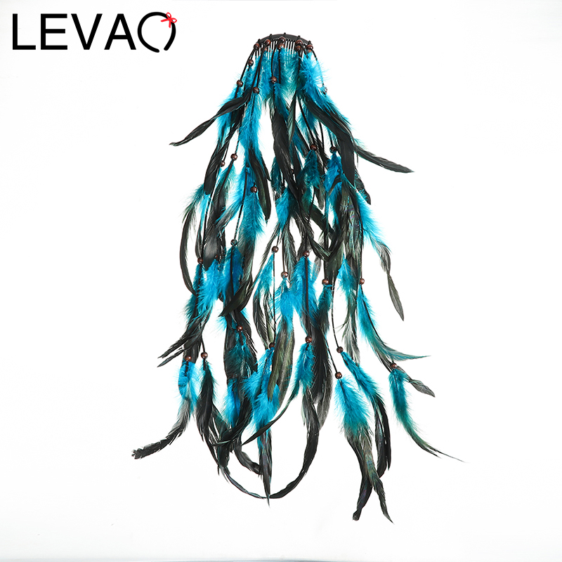 LEVAO Bohemian Feather Hair Forks Hair Combs Hairpin Elegant Headdress Women Hair Clip Headwear Girls Hair Jewelry Accessories