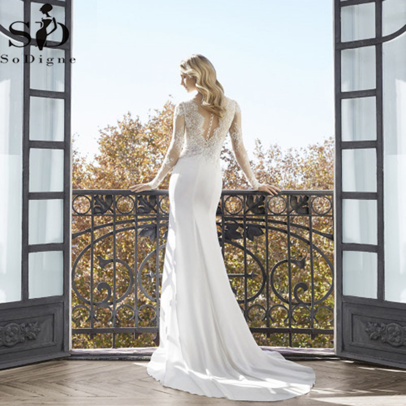 Image 2 - Classic High Slits Wedding Dresses V neck Long Sleeve Lace Appliqued Bridal Gowns Plus Size Dubai Arabic Boho Dubai Wedding Gown-in Wedding Dresses from Weddings & Events