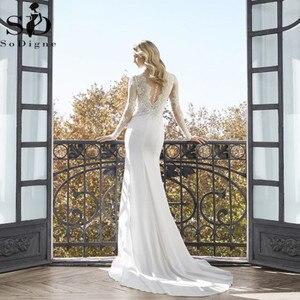 Image 2 - Vestidos de noiva estilo sereia, decote em v, manga longa, renda, aplique, estilo boho
