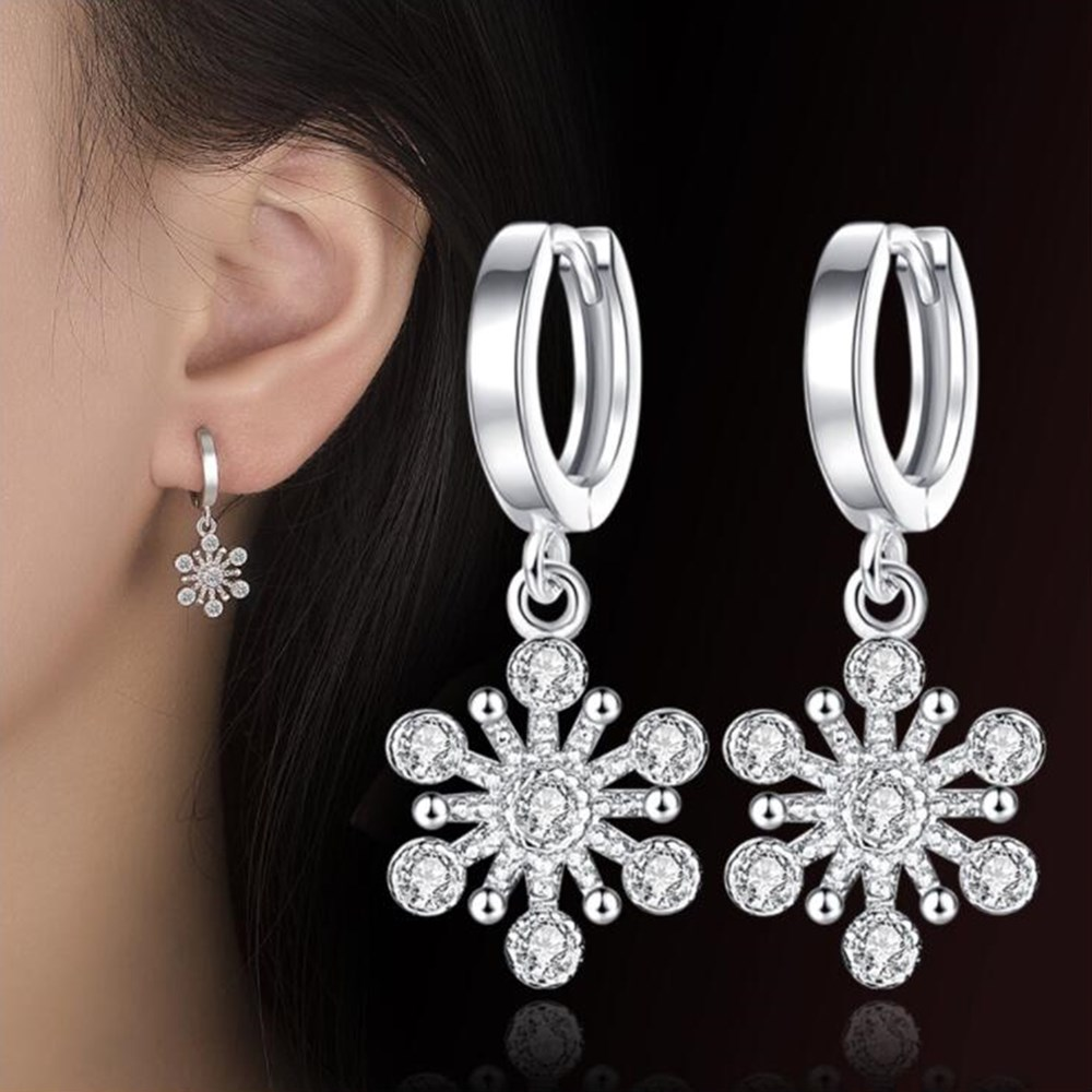 NEHZY 925 sterling silver new woman jewelry Fashion High Quality Retro Hollow Snowflake Crystal Simple Long Fashion Earring