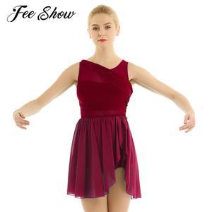 Image 1 - Балетные гимнастические леотарды для взрослых и женщин, платье пачка для танцев, женские балерины, современные лирические танцевальные юбки, одежда из шифона