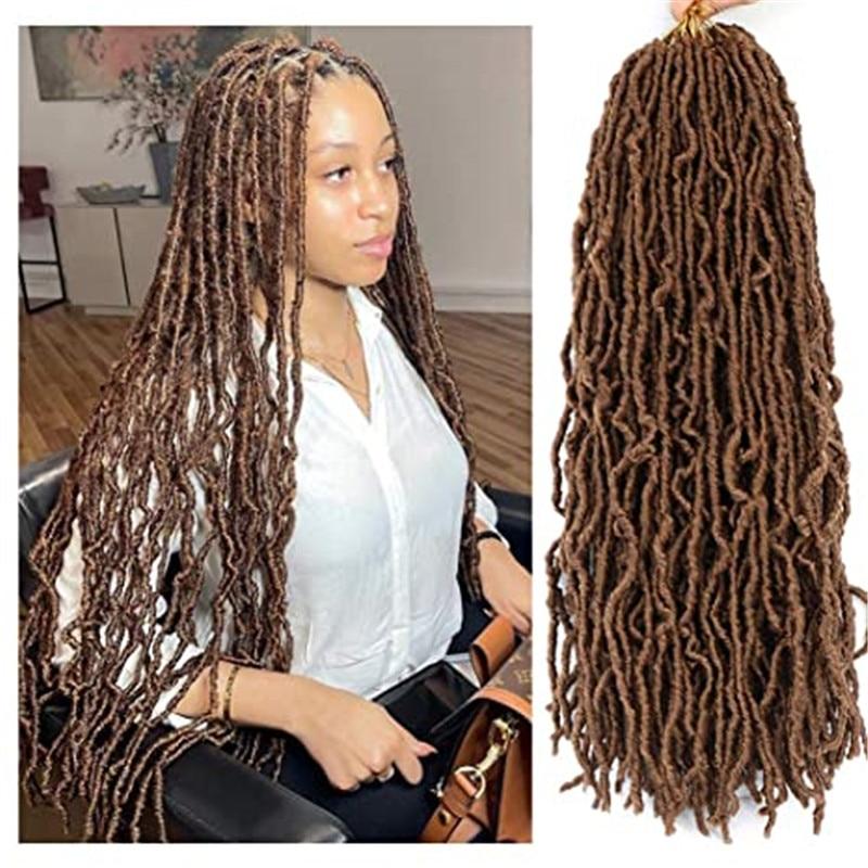 Kong&Li 18Inch Curly Dreadlocks Faux Locs Hair Synthetic Extened Soft Nu Locs Crochet Braids Hair Crochet Hair African Roots