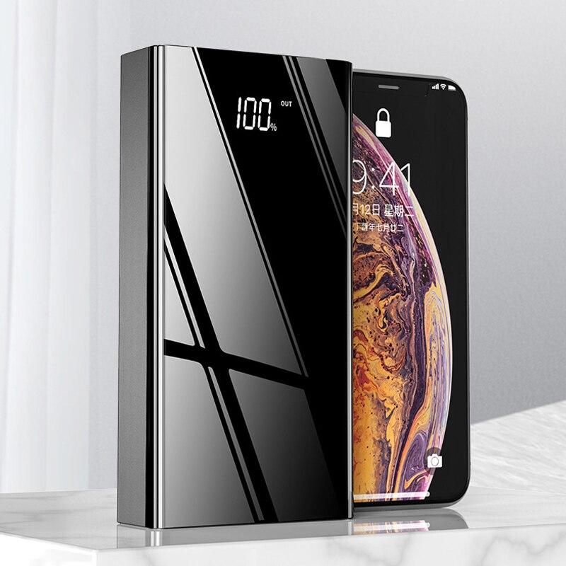 Bateria externa portátil 40000mah com 4 usb, carregamento rápido tipo c, display de led, para celulares tablet
