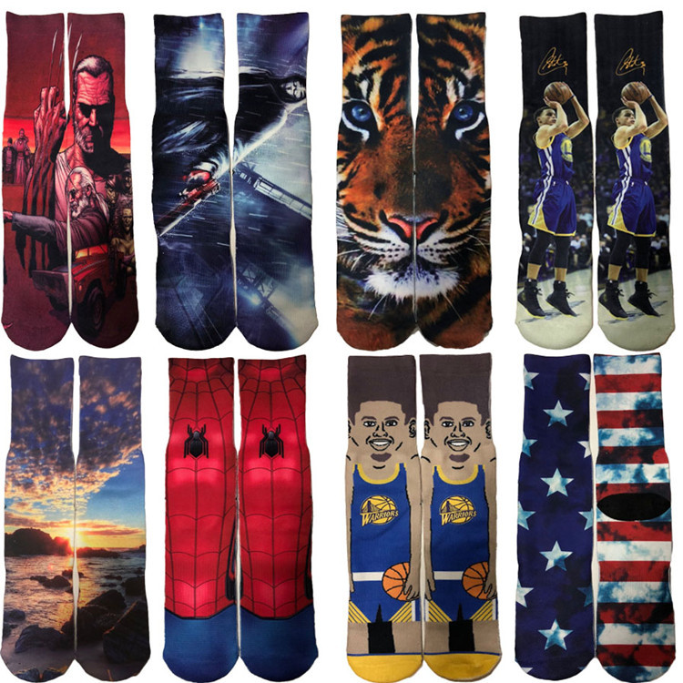 1 Pairs 3D Print Sport Basketball Socks Unisex Santa Claus Elk Snowflake Cartoon Funny Crazy Cute Football Socks Soccer Socks