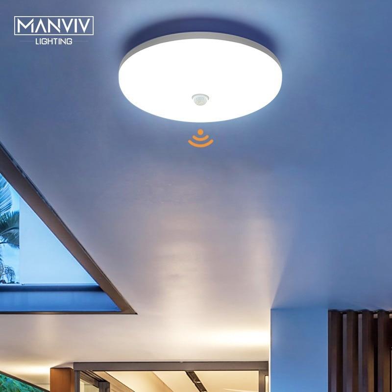 PIR Motion Sensor LED Ceiling Light 9W 13W 18W 24W 36W AC85-265V Ultra Thin Modern Ceiling Lamp For Hallways Corridor Stairways