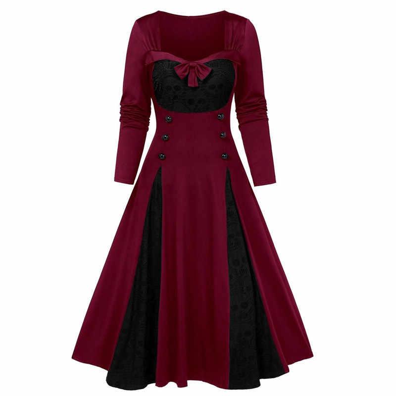 Vestido gótico con estampado de calavera de Halloween para mujer Vintage cuello cuadrado envuelto en el pecho de talla grande 5XL Swing Rockabilly Retro vestido N28