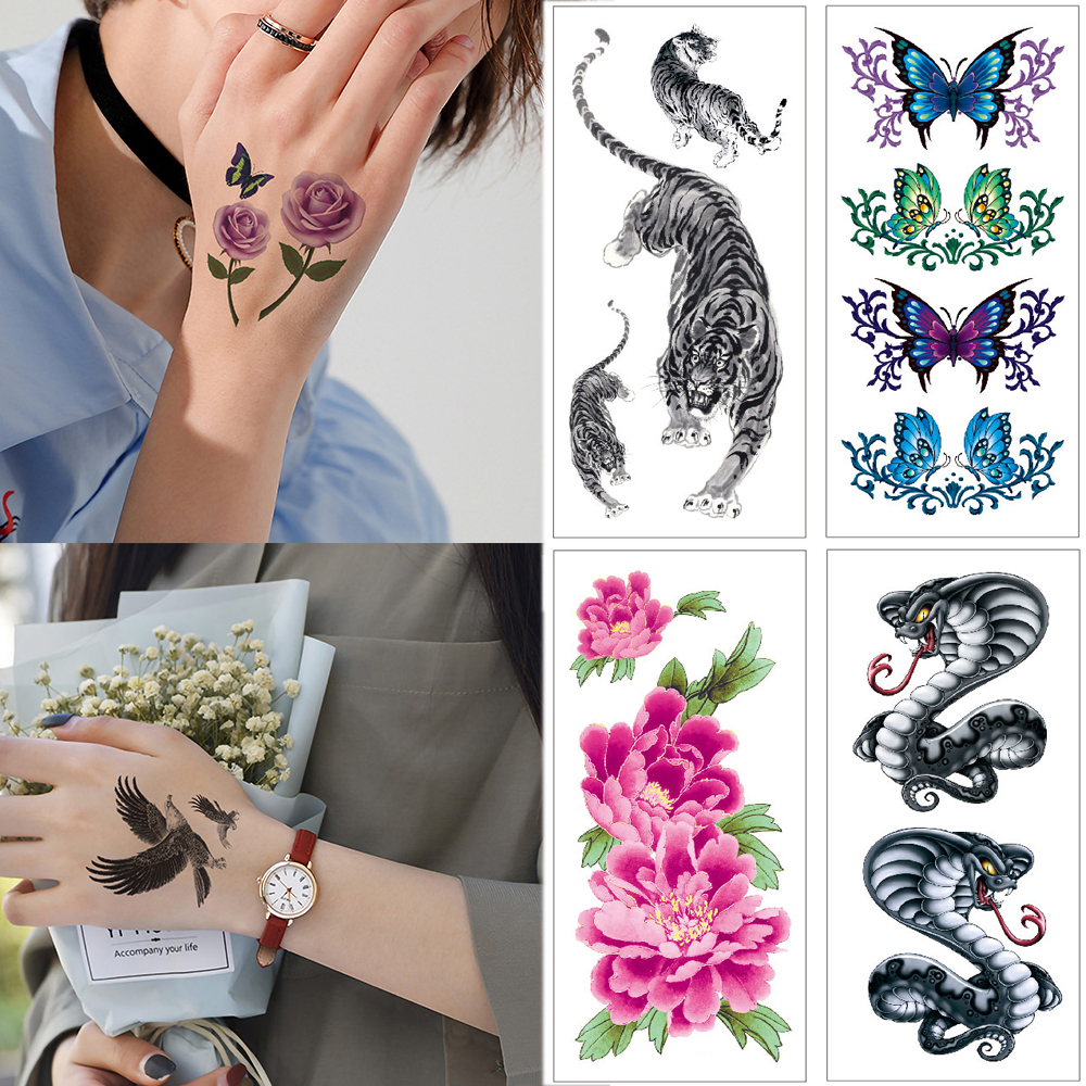 1 Piece Waterproof Temporary Tattoo Stickers Flower Watercolor Hand Body Tattoos Tiger Snake Spider Small Sticker Tattoo Women