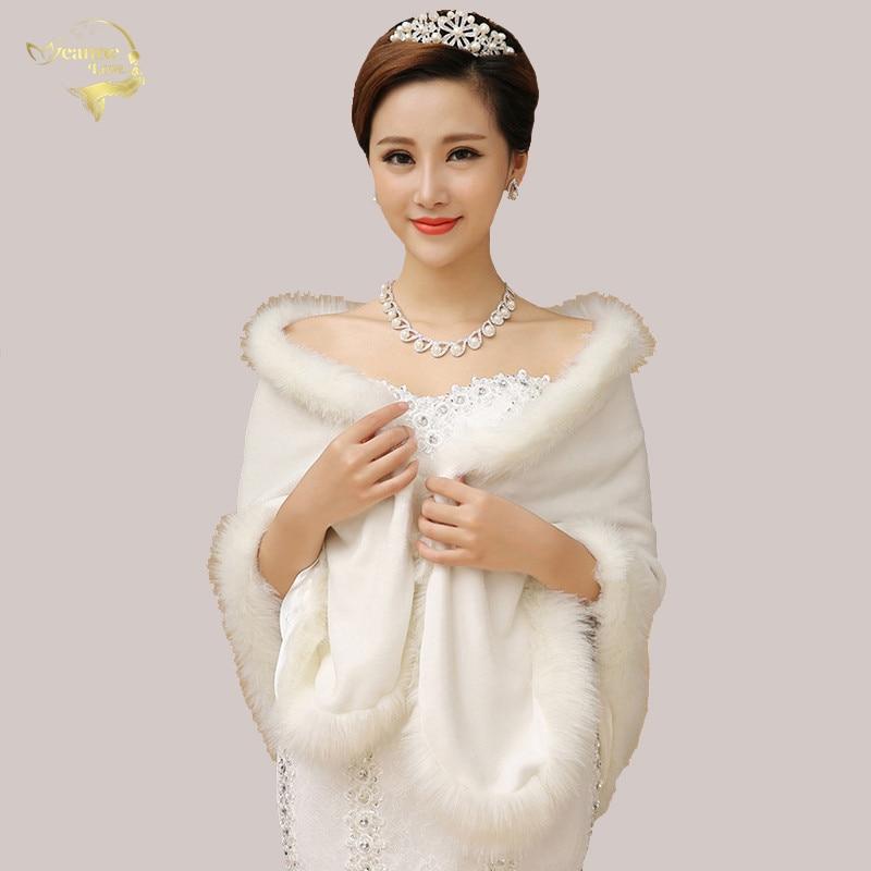 Capa Novia Fashion Women Autumn Winter Faux Fur Shawls Wide Big Stoles Wraps Warm Ladies Scarf Red Fur Capes For Wedding Party