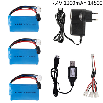 7.4V 1200mAh Li-ion battery with Charger for Electric Toys water bullet gun toys accessory 7.4 V 2S battery for Vehicles RC toys image