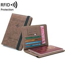 Capa para porta-passaporte rfid, carteira de couro pu multifuncional, porta-cartão, para homens e mulheres, acessórios para viagem nova varal