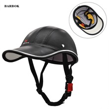 ABS PU Berretto Da Baseball Moto Mezza Viso Casco Della Bici Della Bicicletta Sport Scooter Mezzo del Casco Anti-Uv Cappello Duro di Sicurezza Gorras De beisbol(China)