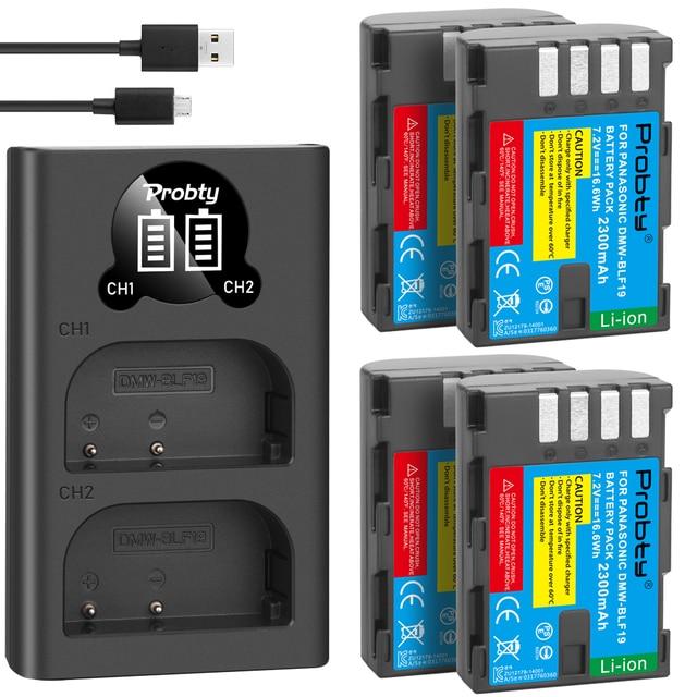 2300 MAh DMW BLF19 DMW BLF19 BLF19E DMW BLF19e DMW BLF19PP Pin + Đèn Led 2 Cổng USB Sạc Cho Máy Ảnh Panasonic Lumix GH3 GH4 GH5 g9