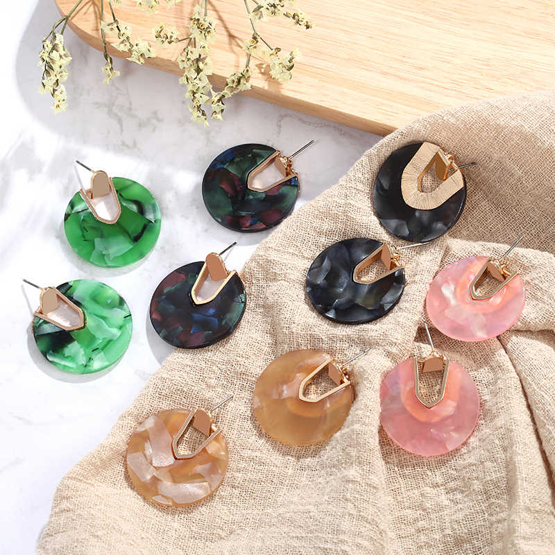 2019 Korean New Fashion Statement Earrings Green Pink Charms Acrylic Earrings Vintage Earrings for Women Brincos Aretes De Mujer