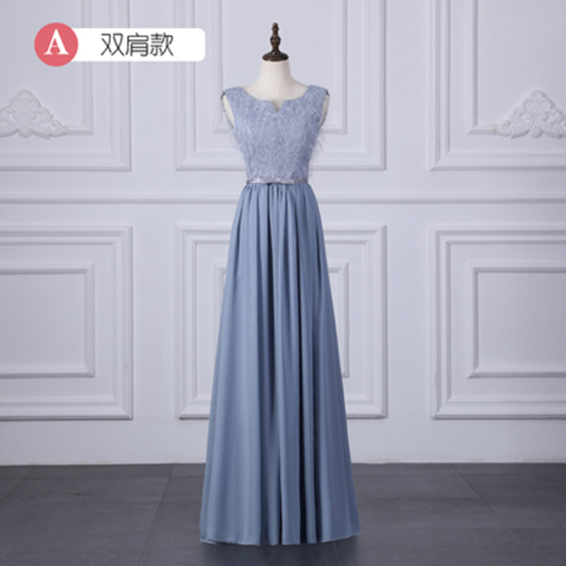 Guest Wedding Party Dress Chiffon Blue Bridesmaid Dress Elegant Plus Size Sleeveless V-neck Simple Long Dress Burgundy Sexy Prom