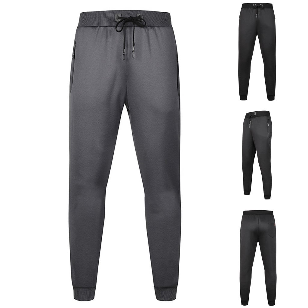 Autumn Men Casual Solid Drawstring Elastic Waist Long Pants Trousers Large Size Warm Plus Velvet Thickening Pants Sweatpants